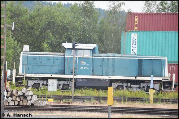 290 127-0 konnte am 23. Juli 2016 mehr schlecht als Recht aus dem Zug heraus in Hof Hbf. fotografiert werden