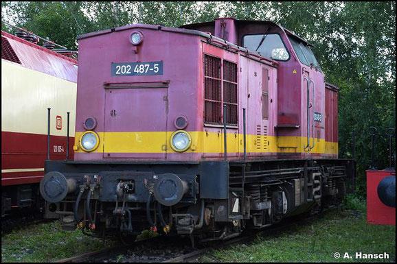 202 487-5 gehört zum Bestand des TEV Weimar. Am 31. Juli 2021 konnte ich die Lok im Bw Weimar fotografieren