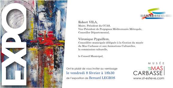 Peintures abstraites et figuratives de Bernard Legros artiste peintre autodidacte à Perpignan exposition à Ste Estéve (66)
