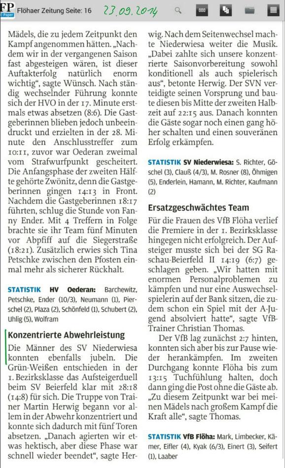 Danach: Freie Presse Flöha vom 23.09.2014