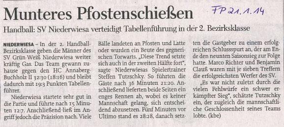 Freie Presse Flöha vom 21.01.2014