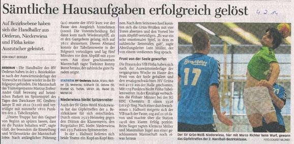 Artikel zum Spiel in der Freien Presse vom 04.02.2014
