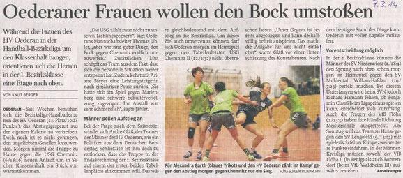 Ankündigung in der Freien Presse Flöha vom 07.03.2014