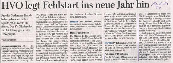 Freie Presse Flöha vom 14.01.2014