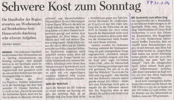 Ankündigung des Spiels in der Freien Presse vom 31.01.2014