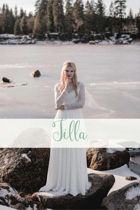 Luftig leichter Zweiteiler: Spitzentop ~ Tilla ~ mit Chiffonrock ~ Lian ~ Die neue elementar Brautkollektion NO FAIRY TALE besticht durch natürliche Lässigkeit und nachhaltige Materialien.