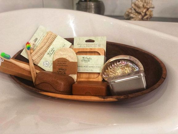 Zahnbürste Bambus, Seifenablage, Seifenbox, Seifenbox Fichte, Abalonenmuschel, Pastikfreie Zahnbürste, Sisalsäckchen