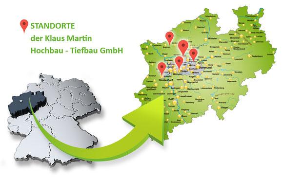 Martin Bau - Unsere Standorte in NRW: Marl - Essen - Krefeld - Castrop Rauxel - Rhede