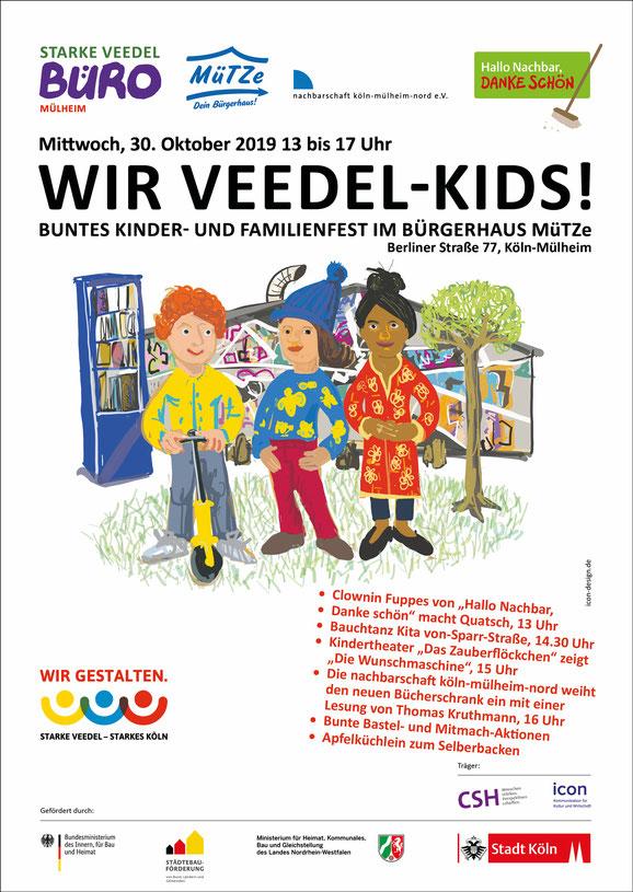 """Plakat für das Kinder- und Familienfest """"Wir Veedel Kids!"""" am 30. Oktober 2019"""