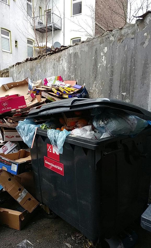Ein gefundenes Fressen für die Ratten sind offene Müllcontainer mit Essensresten. © Stadt Köln