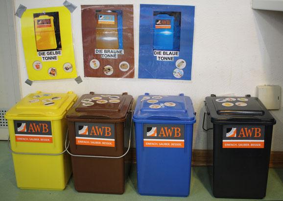 Die gelben, braunen, blauen und schwarzen Tonne der AWB stehen in jeder Kita Gruppe. Mülltrennung wird von klein auf eingeübt.