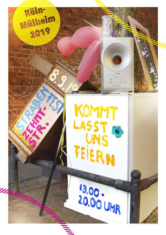 Flyer Einladung zum Straßenfest Zehnstraße/Holweider Straße am 8. September 2019. Design: Nachbarschaft Zehntstraße