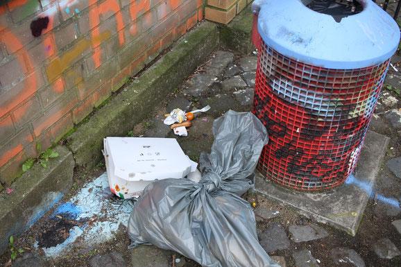 Essensreste und privater Müll neben der Mülltonne zeugen von fehlendem Respekt gegenüber den Nachbarn im Park.