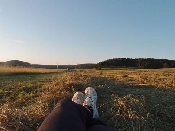 Portrait meiner Füße auf einer gemähten Wiese im Heu mit Wald im Hintergrund
