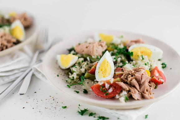 Reissalat Nniçoise aus dem Dampfgarer.