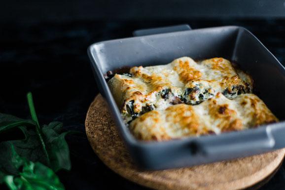 Spinat-Cannelloni aus dem Dampfgarer.