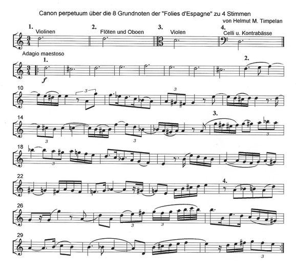Canon perpetuum über Folia d'Espagne pour femme | Nach Notation von Raoul Auger Feullet