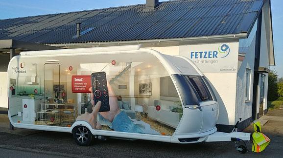 Werbeanhänger Wohnwagen Beklebung Bild Digitaldruck Fetzer Beschriftungen Aldingen Aixheim
