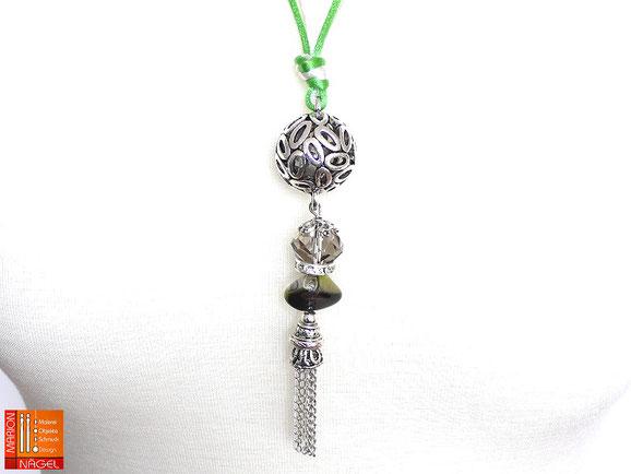 Halskette mit Kugelanhänger grün silber