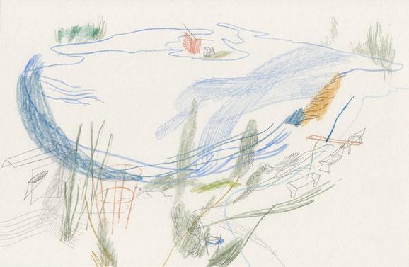 Lausen . 2016 . Bleistift und Farbstift auf Papier . 20 x 29 cm