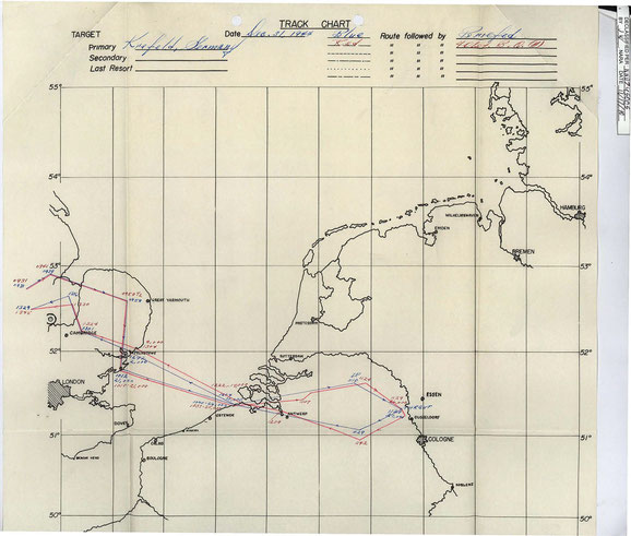 An- und Rückflugkarte der beiden Gruppen, die sich über England im Zickzack nähern.