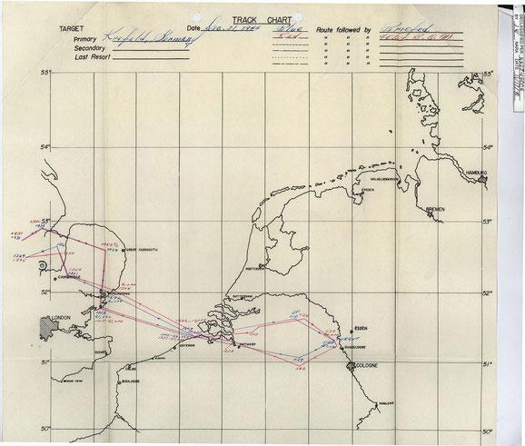 An- und Rückflugkarte der beiden Bomberverbände, die sich über England im Zickzack nähern und wieder zurückfliegen.