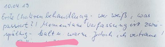 Testimonianza trattamento di riequilibrio chakra, cliente dalla Germania