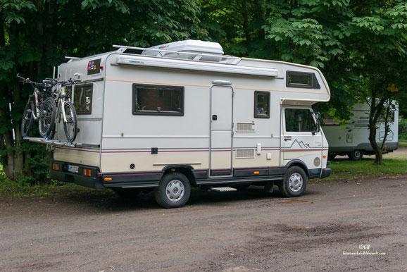 Der Klassiker Karmann auf VW-Lt. Wohnmobilstellplatz Dresden