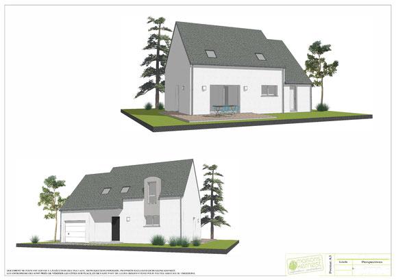 maison traditionnelle de plain pied avec ardoises et enduit bicolore blanc et gris