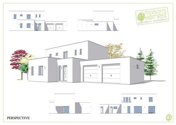 maison moderne à étage avec enduit blanc et toit terrasse