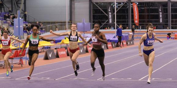 Gina Akpe-Moses (no. 1) winning the 60m in Kuldīga, Latvia