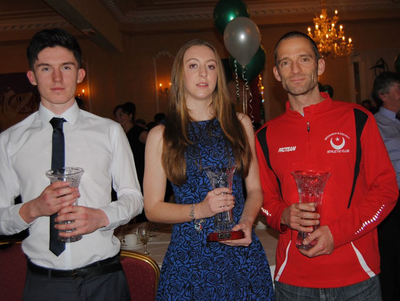 Garry Campbell (Dunleer AC - Boys), Rebecca Carr (Blackrock AC - Girls) and Mark O'Shea (Drogheda & District AC - Senior) after being presented with the 2014 Louth Athlete of the Year Awards by Athletics Leinster.