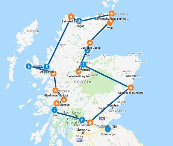 Mappa Tour Scozia 10 giorni