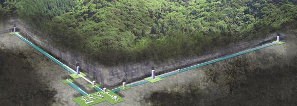 岐阜、富山県境の池ノ山地下に設置された重力波望遠鏡KAGRA。近くにはスーパーカミオカンデ。