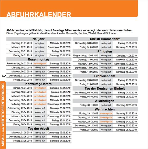 Abfuhrtermine der AWB Köln, die auf einen Feiertag fallen, werden vor- oder nachverlegt.
