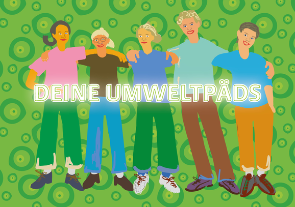 Das Team der Umweltpäds: Diana Schnitzler, Jana Roes, Lisa van Uden, David Kolkenbrock, Susanne Kempkes. Illustration: Eva Rusch
