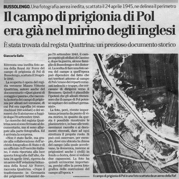 Articolo dell'Arena di Verona . Al documentario di cui se ne parla all'interno, abbiamo collaborato anche noi.