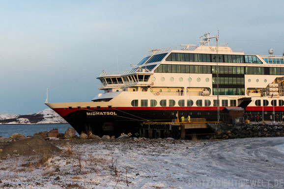 Kirkenes,Hafen,Norwegen,Hurtigruten,ms,Midnatsol, Postschiff,Winter,November