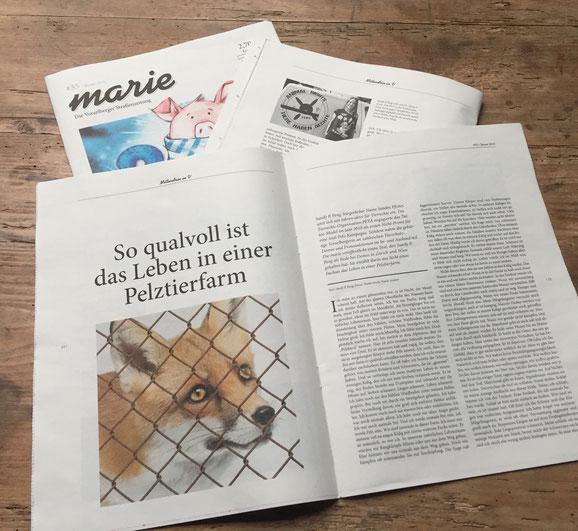 """Thema Pelzfarm. """"marie"""" - Die Vorarlberger Straßenzeitung Sandy P.Peng"""