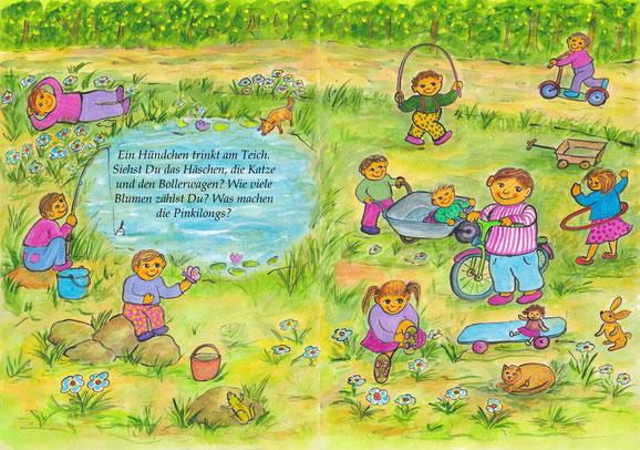 Erste Doppelseite (Seiten 2-3) Die Pinkilongs spielen am Teich: (Text) Ein Hündchen trinkt am Teich. Siehst Du das Häschen, die Katze und den Bollerwagen? Wie viele Blumen zählst Du? Was machen die Pinkilongs?