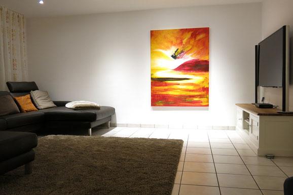 abstrakte Kunst malerei orange