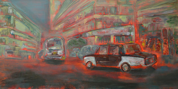 """Cairo Taxi in motion"" (1 m by 50 cm, Oil on Canvas)."