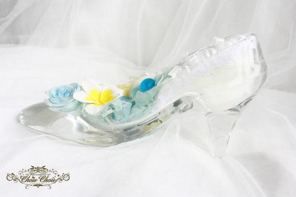 ディズニープロポーズ ガラスの靴 隠れミッキー プルメリア 貝 薔薇 プレゼント 夏 プリザーブドフラワー