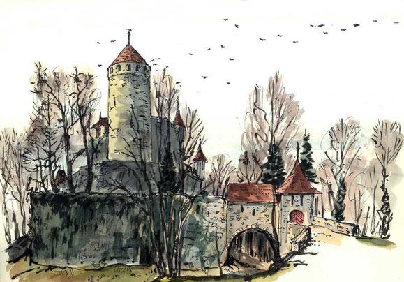 Schloss Lucens mit vielen nistenden Dohlen