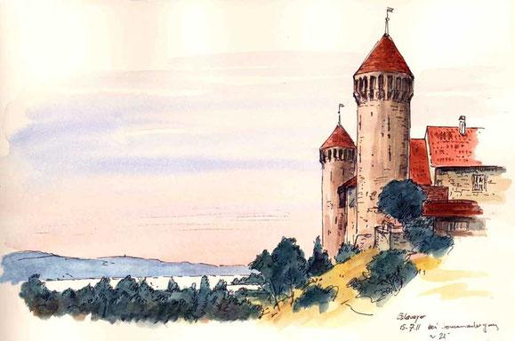 Schloss Estavayer 13. Jh, bei Sonnenuntergang, S