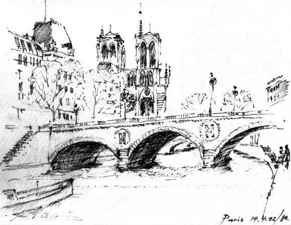 Paris, Nôtre Dame, 1992 (Filzstift)
