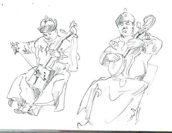 Mongolische Musiker mit Obertongesang