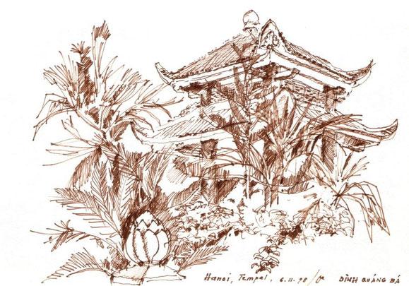 Tempel, Hanoi 1998 (Filzstift)