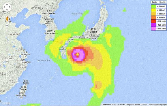 """Taifun """"Nangak"""" zieht auf Japan zu, zwingt uns zu einer Pause."""