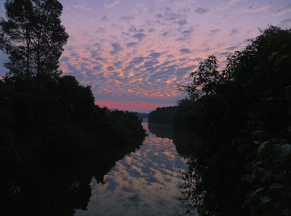 Früher Morgen über dem Fluss - unglaublich schön.